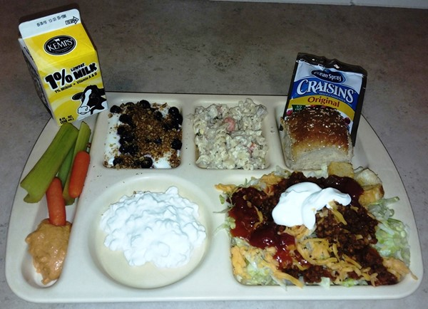 Taco Salad Bar with Cottage Cheese and Blueberry Parfait